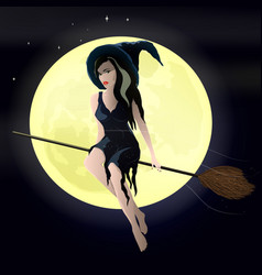 a young witch flying on a vector image