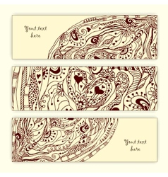 Abstract hand drawn heart pattern card set vector image