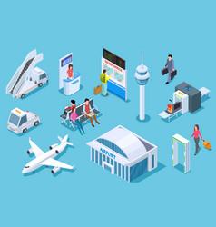 Airport isometric passenger luggage vector