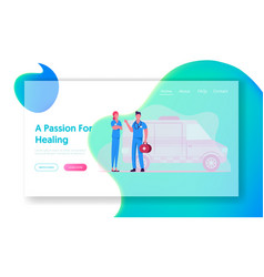 ambulance medical staff and car service website vector image