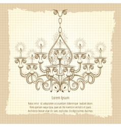 Antique gothic chandeliar sketch vector