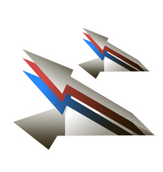 arrows in the form of cruise missiles blue red vector image