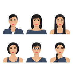 asian womans with various hairstyle vector image