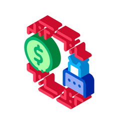 Automated withdrawal money isometric icon vector