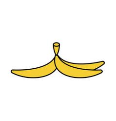 Banana peel isolated banana skin style outline vector