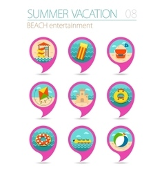 Beach entertainment pin map icon set Vacation vector