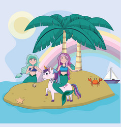 beautiful and magic mermaids cartoon vector image