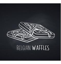 Belgian waffles dessert icon badge vector