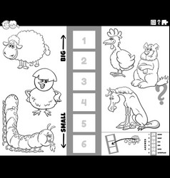 biggest and smallest animal cartoon game coloring vector image