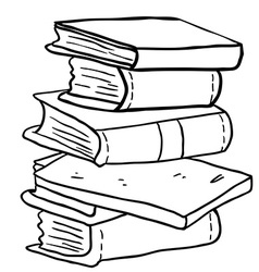 black and white pile of books vector image