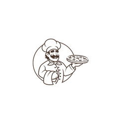 black chef pizza in circle logo vector image