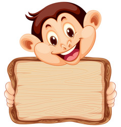 Board template with cute monkey on white vector