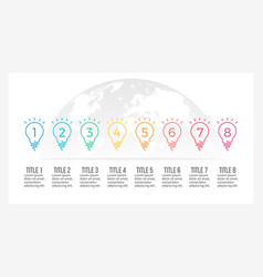 Business infographics timeline with 8 light bulbs vector