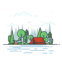 Camping tent in the woods vector