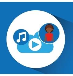 Cartoon afro girl music cloud app vector