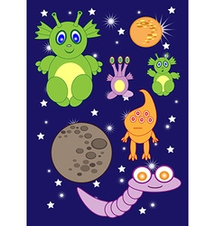 Cartoon cute monsters space of astronauts aliens vector image