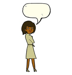 Cartoon woman in trench coat with speech bubble vector