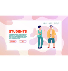 cheerful students or pupils characters cartoon vector image