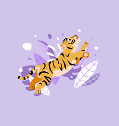 cheerful tiger jumping in rainforest funny tiger vector image