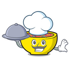 Chef with food soup union mascot cartoon vector