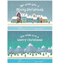 Christmas holiday season Small town in snowfall vector image