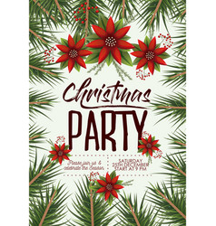 christmas party card with colorful pine branches vector image