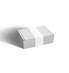 Clear big cardboard box with paper label vector