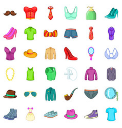clothes and shoes icons set cartoon style vector image