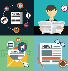 Collection of flat and colorful news marketing and vector