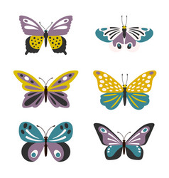 cute butterflies set vector image