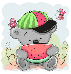 Cute cartoon bear with watermelon vector