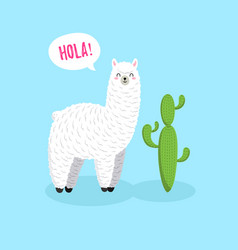 Cute cartoon lama doodle character vector