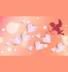 cute cupid silhouette over glowing valentines day vector image