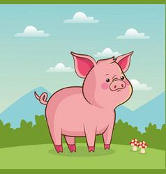 Cute piggy animal baby with landscape vector