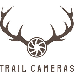 Deer horns and trail camera design template vector