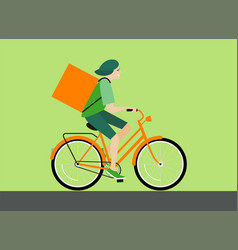 delivery man rides a bicycle vector image