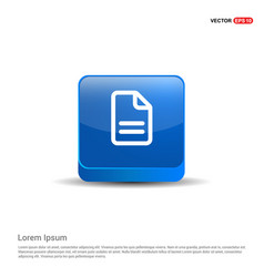 document icon - 3d blue button vector image