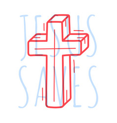doodle cross religion christian poster hand drawn vector image