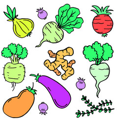Doodle of vegetable set style cartoon vector