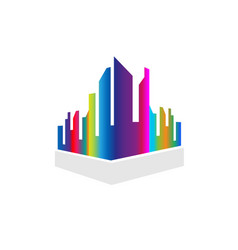 downtown city buildings multi-colored vector image
