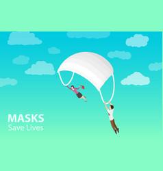 face mask save lives masks aid in decreasing vector image