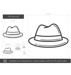 Felt hat line icon vector
