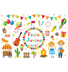 Festa junina set icons flat style brazilian vector