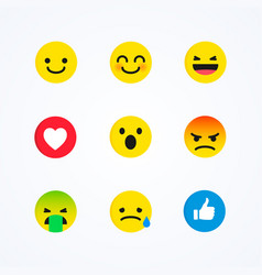 flat design style social media reactions emoticon vector image