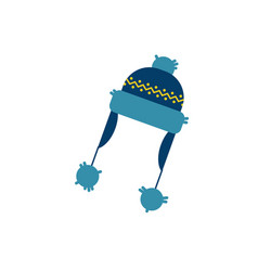 flat knitted hat with earflaps vector image