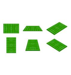 football stadium 3d soccer field green vector image