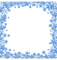 Frame with blue forget-me-not flowers vector