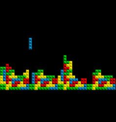 game tetris pixel bricks colorfull game vector image