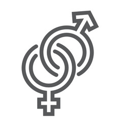 gender signs line icon love and sex heterosexual vector image