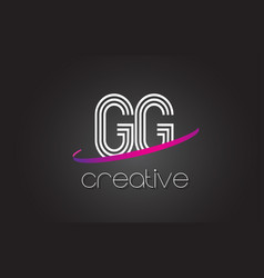 Gg g g letter logo with lines design and purple vector